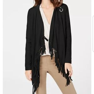 I.N.C. Fringe-Trim Draped Cardigan